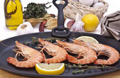 Tiger prawns on grill — Stock Photo