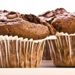 homemade double chocolate muffins — Stock Photo