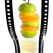Fruit salad film strip — Stock Photo