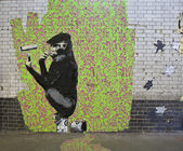 Beroemde banksy graffiti — Stockfoto