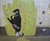 Graffiti banksy famoso — Foto Stock