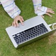 Surfing internet on the field — Stock Photo