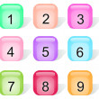 Stock Vector: Set of glossy buttons with numbers