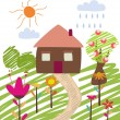 Childlike illustration of house - Imagen vectorial