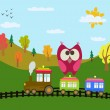 ストックベクタ: Cartoon train and owl