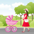 Young mother with stroller — Stock Vector