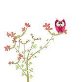 Chouette sur un brunch avec des fleurs — Vecteur