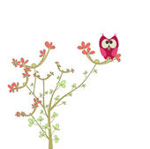 Owl on a brunch with flowers — 图库矢量图片