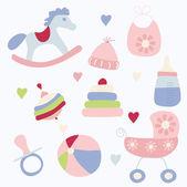 Conjunto de brinquedos e acessórios para bebé — Vetor de Stock