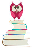 Cute owl and books — Vector de stock