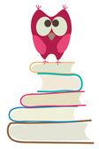 Libros y lindo buho — Vector de stock