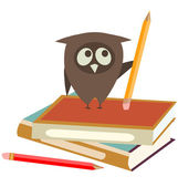 Búho, libros y lápices — Vector de stock
