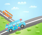 Cartoon bus routes — Vettoriale Stock