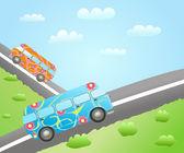 Rutas de autobús de la historieta — Vector de stock