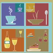 Icone retrò di cibi e bevande — Vettoriale Stock