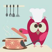 Lindo buho con un bawl cocinando en la cocina — Vector de stock