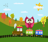 Cartoon train and owl — Stok Vektör
