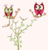Owls in love on branch — Vettoriale Stock