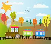 Treno dei cartoni animati — Vettoriale Stock