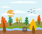 Autumn landscape and owl — Stock Vector