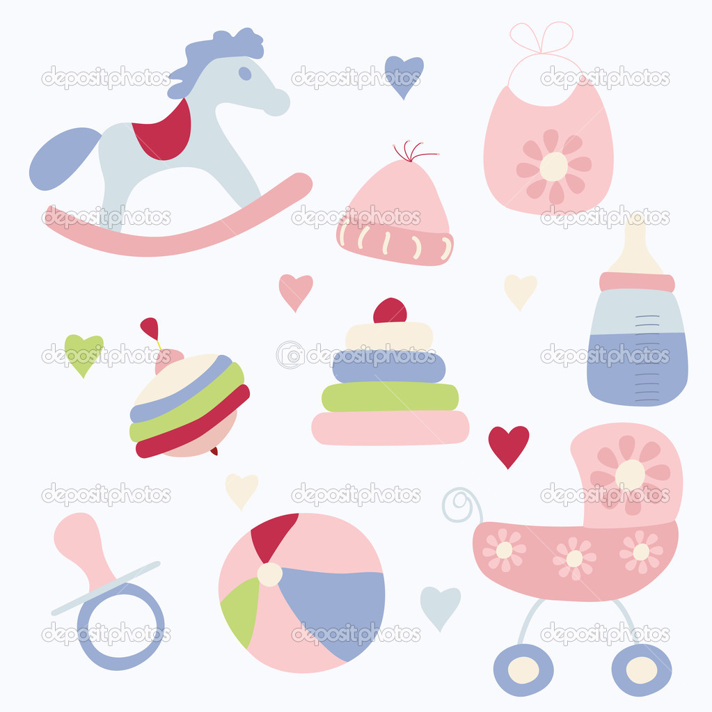 Set of toys and accessories for baby girl  — Stock Vector #3749486
