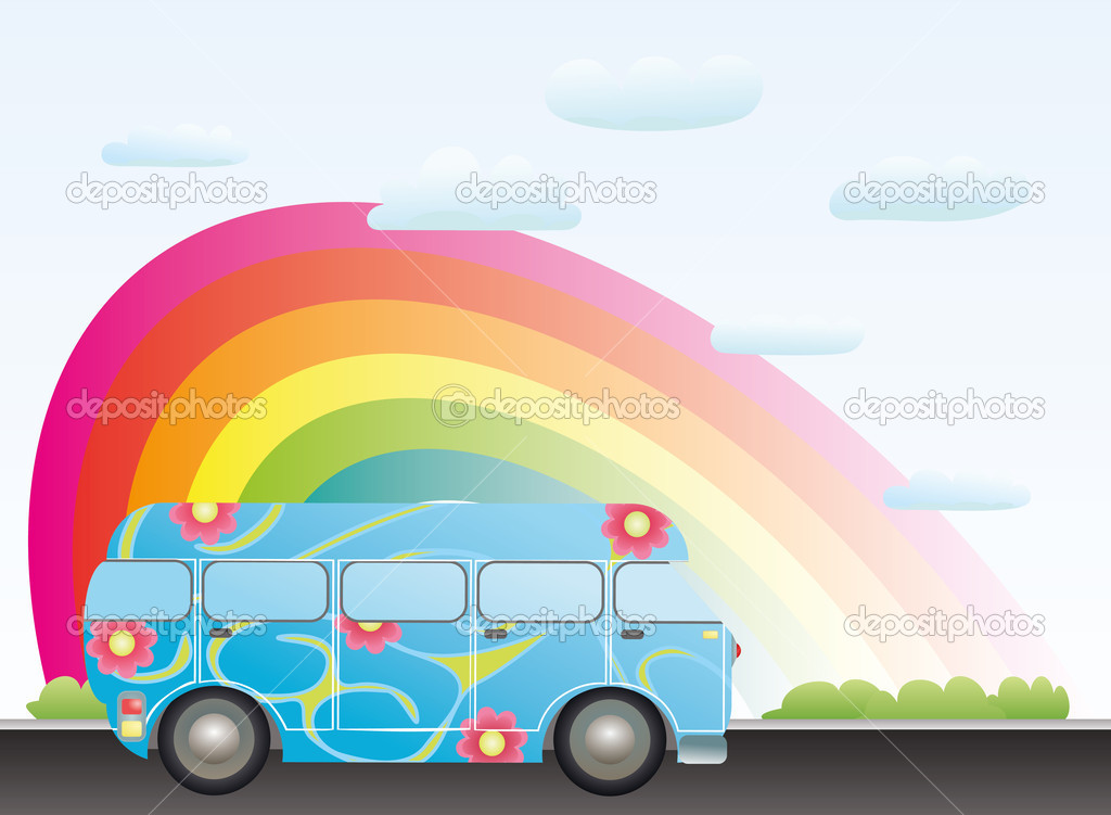 Cartoon bus with a rainbow  Stock Vector #3749508