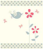 抽象小鸟、 蝴蝶和鲜花 — 图库矢量图片