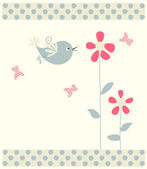 Abstract bird,butterflies and flowers — Stockvector