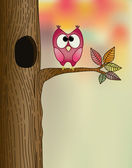 Cute owl on a tree in autumn — Vecteur