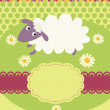Invitation card with a cute sheep - Imagen vectorial