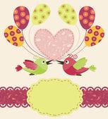 Plantilla de felicitación con aves y globos — Vector de stock