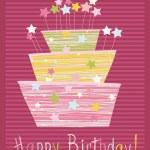 Childlike birthday cake — Stock Vector