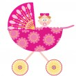 Stock Vector: Baby stroller with girl