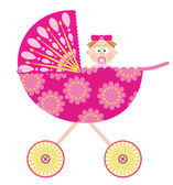 Baby stroller with a girl — Stockvector