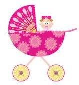 婴儿推车和一个女孩 — 图库矢量图片