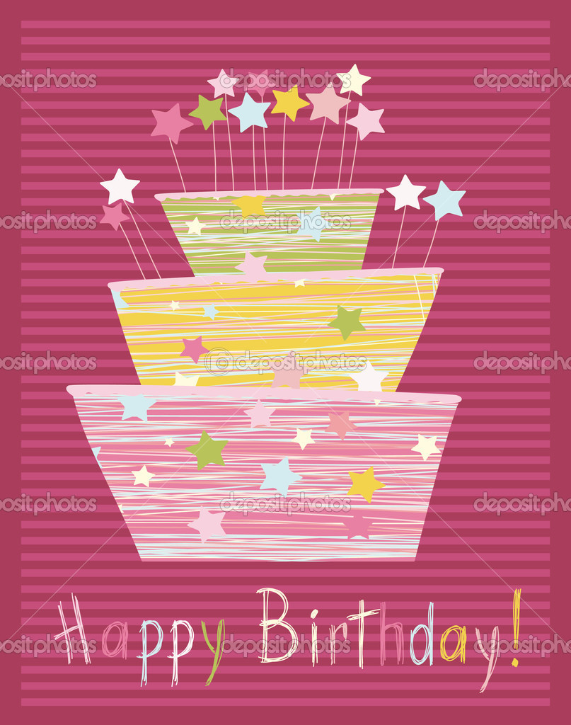 Childlike birthday cake — Stock Vector #3914482