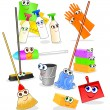 Stock Vector: Tools and accessories for cleaning