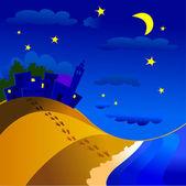 Nocturnal landscape — Stock Vector