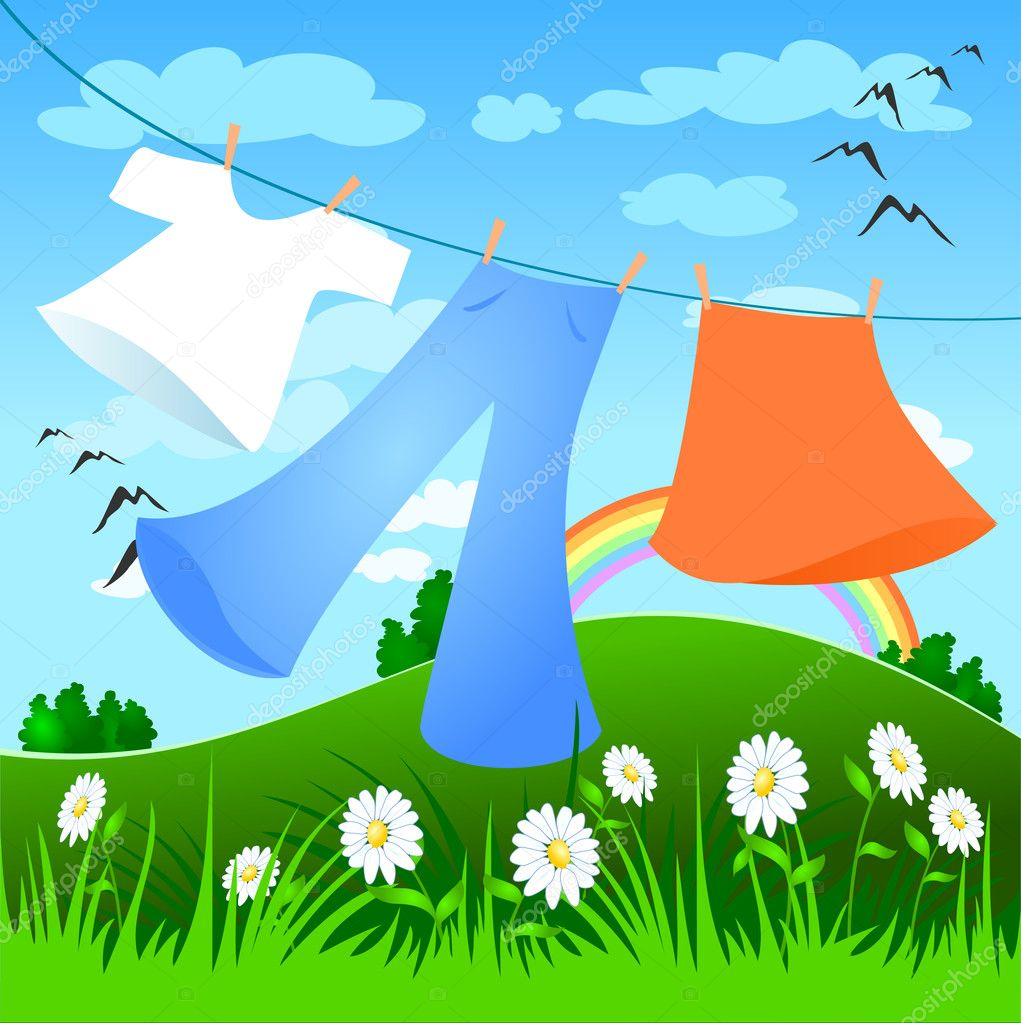 Put out to dry laundry outdoors, vector  Stock Vector #2693439