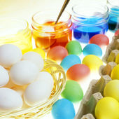 Easter eggs' coloration — Stock Photo