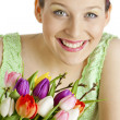 Woman with tulips — Stock Photo