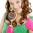 Woman with a lollypop — ストック写真