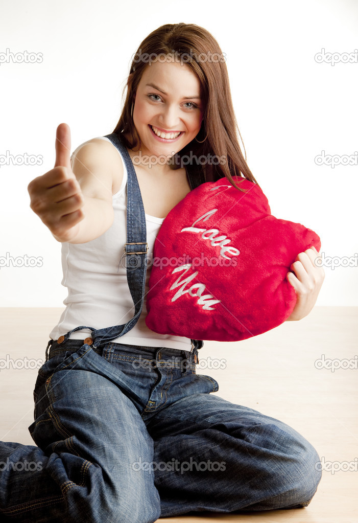 Woman holding a heart — Stock Photo #2799989