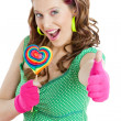 Woman with a lollypop — Stock Photo