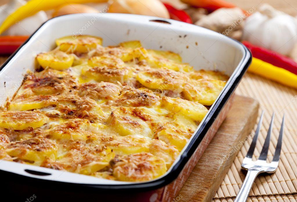 Картошка с мясом в сливках с фото