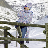 Woman in mountains — Stock Photo