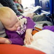 Toddler on plane — 图库照片