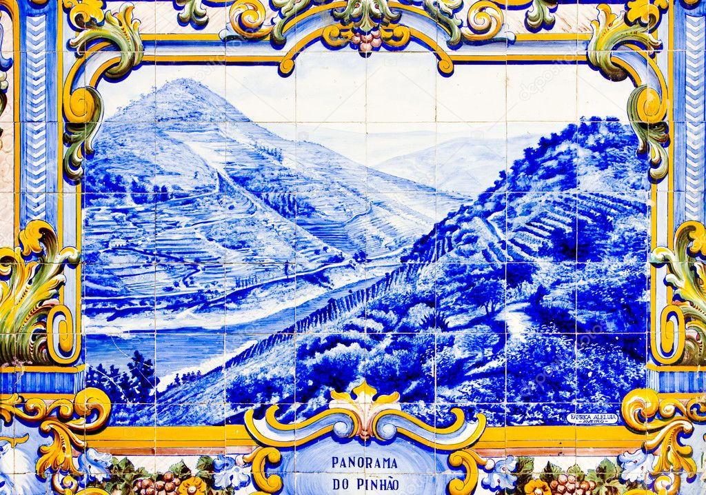 Tiles (azulejos) at railway station of Pinhao, Douro Valley, Portugal  Stock Photo #2846210