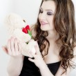 Woman with Valentine&#039;s present - Stock Photo