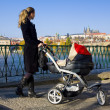 Stock Photo: Womwith pram